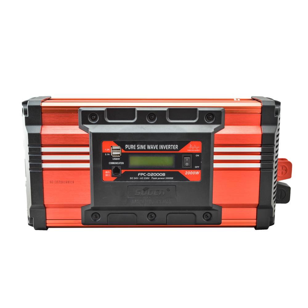 Suoer 24v 220v 2000w pure sine wave inverter with LCD display