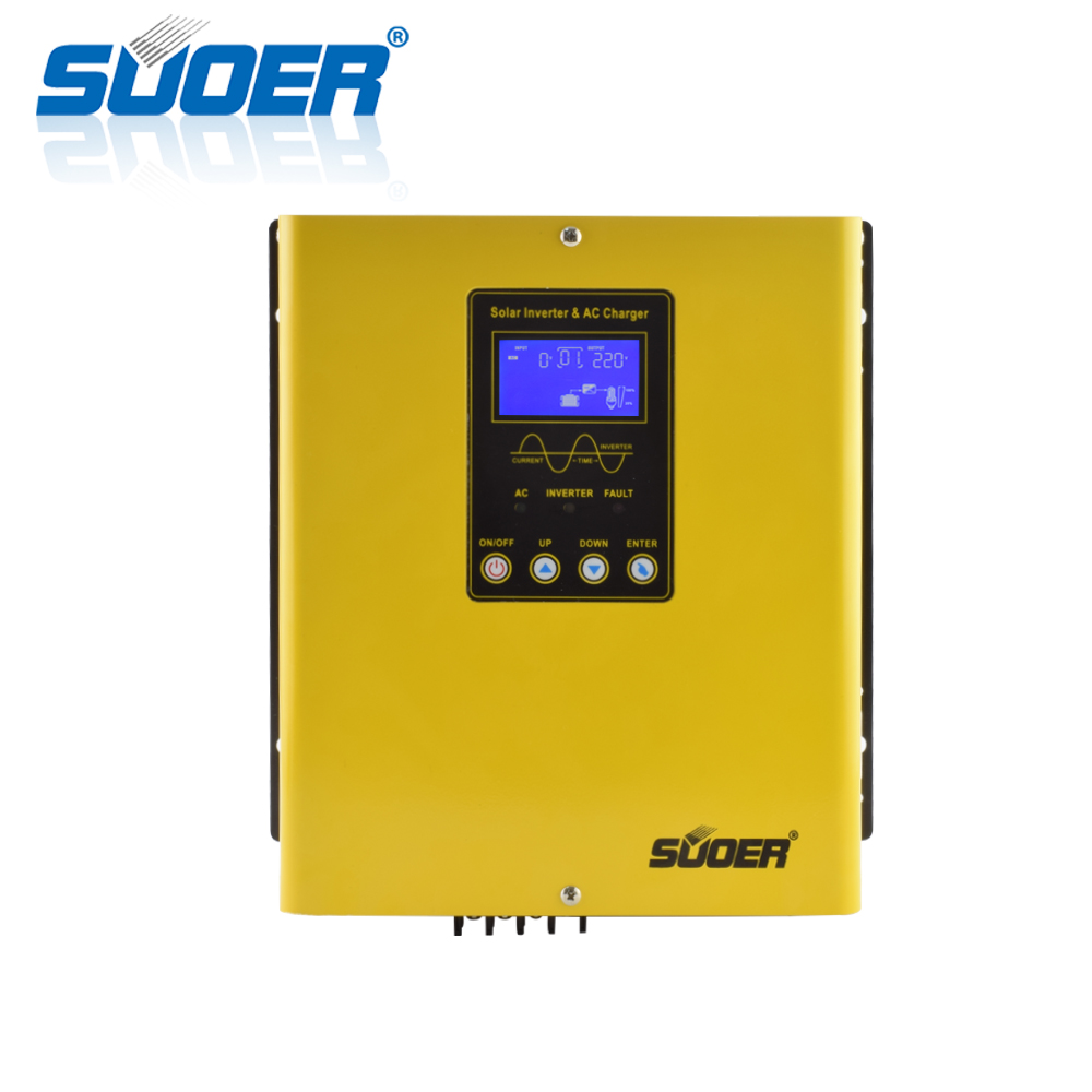 Suoer Low Frequency 1KW 12V DC to 220V AC Pure Sine Wave 1000W Hybrid Solar Inverter With 20A Charger and PWM Controller 30A